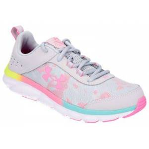 Under Armour Assert 8 Running Shoes for Kids - Halo Gray/White/Pink Craze - 3.5 Kids