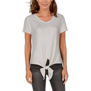 Natural Reflections Rib-Knit Tie-Front Short-Sleeve Top for Ladies - Egret - 1X