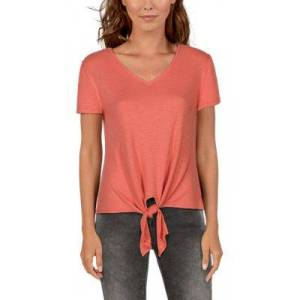 Natural Reflections Rib-Knit Tie-Front Short-Sleeve Top for Ladies - Crabapple - 1X