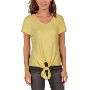 Natural Reflections Rib-Knit Tie-Front Short-Sleeve Top for Ladies - Sunshine - 2X
