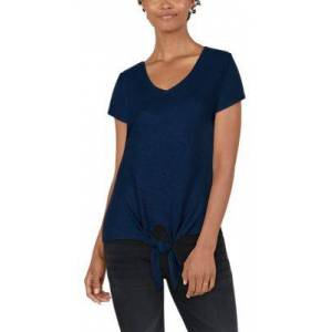 Natural Reflections Rib-Knit Tie-Front Short-Sleeve Top for Ladies - Insignia Blue - 1X