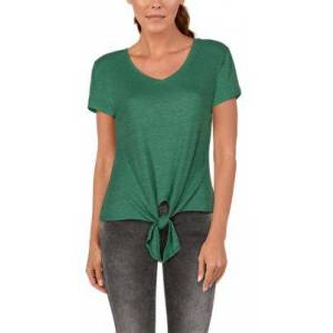 Natural Reflections Rib-Knit Tie-Front Short-Sleeve Top for Ladies - Frosty Spruce - 2X
