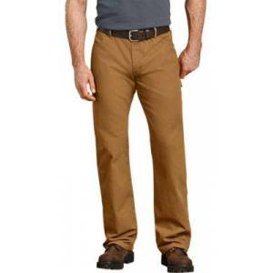 Dickies Relaxed-Fit Straight-Leg Carpenter Duck Jeans for Men - Rinsed Brown Duck - 42x32