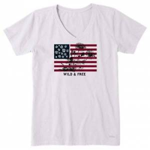 Life is Good Wild and Free Short-Sleeve Shirt for Ladies - Cloud White - 3XL