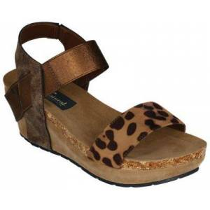 Natural Reflections Sandra Wedge Sandals for Ladies - Bronze/Leopard - 6M