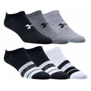 Under Armour Essential 2.0 No Show Socks for Ladies - Black-Gray/Assorted - M