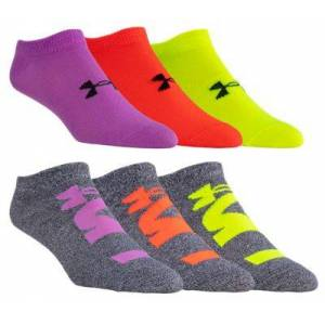 Under Armour Essential 2.0 No Show Socks for Ladies - Purple/Assorted - M