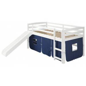Chelsea Home Furniture Danny Tent White Loft Bed with Slide and Ladder - Blue