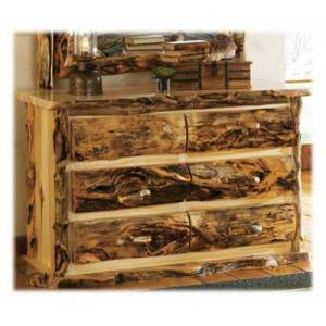 Mountain Woods Furniture Extra-Gnarly Quakie Log 6-Drawer Dresser - 72''
