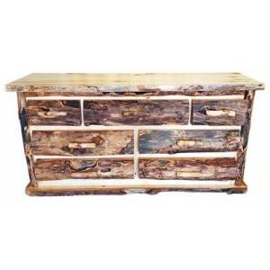 Mountain Woods Furniture Extra-Gnarly Quakie Log Seven-Drawer Dresser