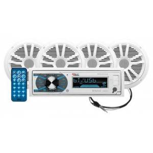 Boss Audio AM/FM MP3 Mechless Receiver with Bluetooth and 4 Speakers - White UV Coated