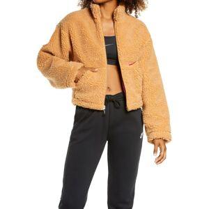 Nike Women's Nike Swoosh Faux Fur Jacket, Size Large - Brown