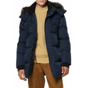 Marc New York Men's Marc New York Belmont Water Resistant Hooded Down & Feather Fill Coat With Faux Fur Trim, Size Large - Blue