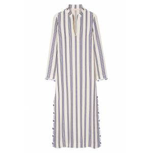 Tory Burch Women's Tory Burch Stephanie Stripe Linen Blend Beach Caftan, Size Small - Blue