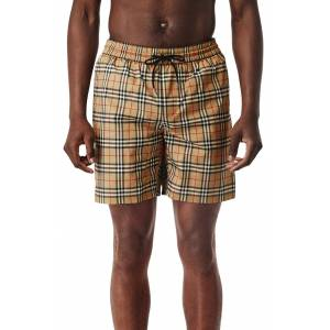 Burberry Men's Burberry Guildes Vintage Check Swim Trunks, Size Large - Yellow