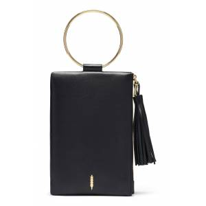 Thacker Nolita Ring Handle Leather Clutch - Black