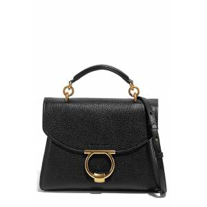 Salvatore Ferragamo Margot Leather Top Handle Bag - Black