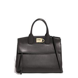 Salvatore Ferragamo Medium The Studio Leather Top Handle Bag - Black