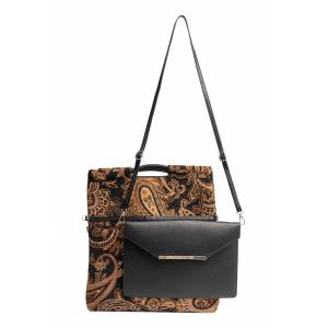 Beis The Messenger Handbag With Removable Clutch - Black