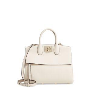 Salvatore Ferragamo The Studio Piccolo Leather Top Handle Bag - White