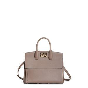 Salvatore Ferragamo The Studio Calfskin Leather Top Handle Bag - Brown