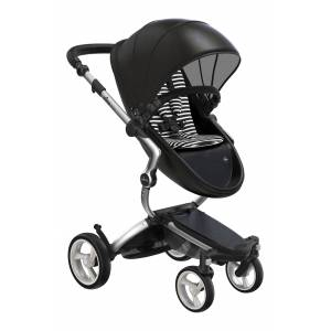 mima Infant Mima Xari 2020 Silver Chassis Stroller With Reversible Reclining Seat & Carrycot, Size One Size - Black