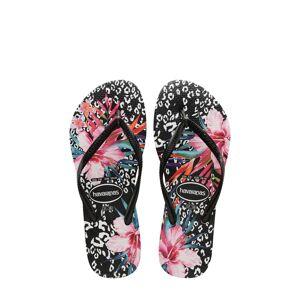 Havaianas Toddler Girl's Havaianas Slim Animal Floral Sandal, Size 10 M - Black