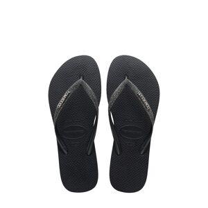 Havaianas Girl's Havaianas Slim Glitter Flip Flop, Size 2 M - Black