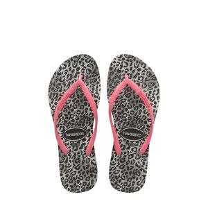Havaianas Girl's Havaianas Slim Leopard Flip Flop, Size 2 M - Black
