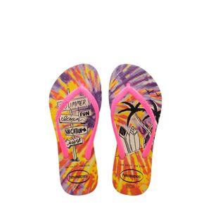 Havaianas Girl's Havaianas 'Slim' Fluorescent Print Flip Flop, Size 2 M - Yellow