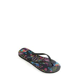 Havaianas Toddler Girl's Havaianas Slim Tropical Floral Flip Flop, Size 9 M - Black
