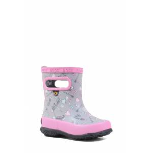 Bogs Toddler Girl's Bogs Skipper Dragonfly Rubber Rain Boot, Size 10 M - Grey