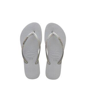 Havaianas Girl's Havaianas Slim Glitter Flip Flop, Size 2 M - Grey