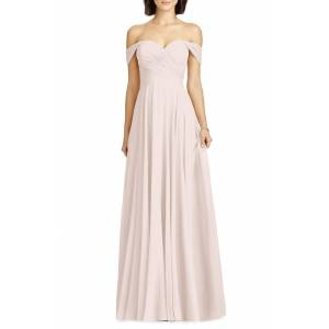 Dessy Collection Women's Dessy Collection Lux Off The Shoulder Chiffon Gown, Size 0 - Pink