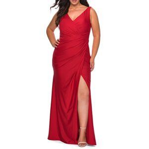 La Femme Plus Size Women's La Femme Ruched Jersey Trumpet Gown, Size 20W - Red