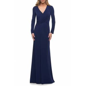 La Femme Women's La Femme Ruched Long Sleeve Jersey Sheath Gown, Size 20 - Burgundy