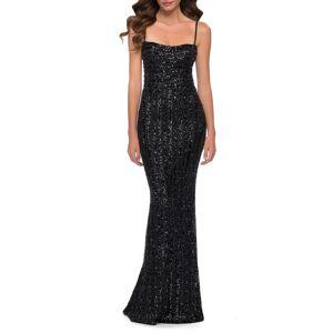 La Femme Women's La Femme Stripe Pattern Sequin Evening Gown, Size 8 - Black