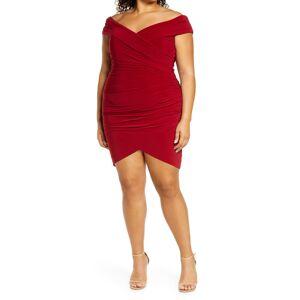 La Femme Plus Size Women's La Femme Off The Shoulder Jersey Ruched Sheath Minidress, Size 20W - Burgundy