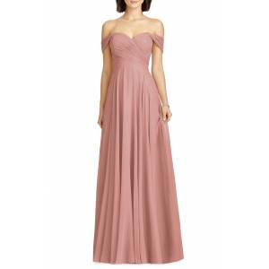 Dessy Collection Women's Dessy Collection Lux Off The Shoulder Chiffon Gown, Size 18 - Pink