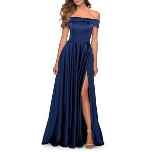 La Femme Women's La Femme Off The Shoulder Satin Ballgown, Size 20 - Blue