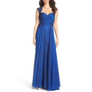 La Femme Women's La Femme Ruched Chiffon A-Line Gown, Size 20 - Blue