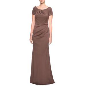 La Femme Women's La Femme Ruched Detail Trumpet Gown, Size 20 - Brown