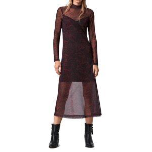 AllSaints Women's Allsaints Hanna Stanza Mesh Long Sleeve Midi Dress, Size 00 - Burgundy