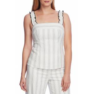 Vince Camuto Women's Vince Camuto Pinstripe Ruffle Stripe Sleeveless Top, Size 0 - White