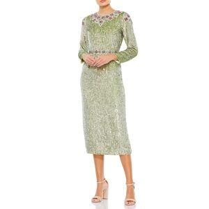 Mac Duggal Women's MAC Duggal Sequin Long Sleeve Midi Dress, Size 4 - Green