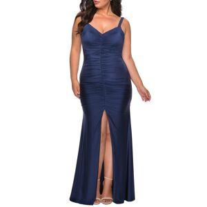 La Femme Plus Size Women's La Femme Ruched Jersey Gown, Size 20W - Blue