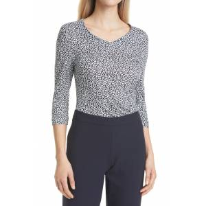 Boss Women's Boss Epana Abstract Animal Print Jersey Top, Size Small - Blue
