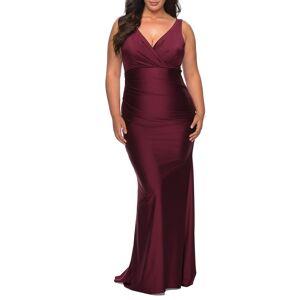 La Femme Plus Size Women's La Femme Satin V-Neck Trumpet Gown, Size 20W - Purple