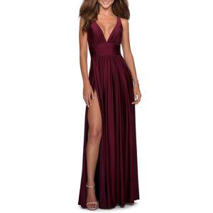 La Femme Women's La Femme Plunge Neck A-Line Gown, Size 20 - Red