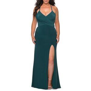 La Femme Plus Size Women's La Femme Strappy Tie Back Trumpet Gown, Size 20W - Green
